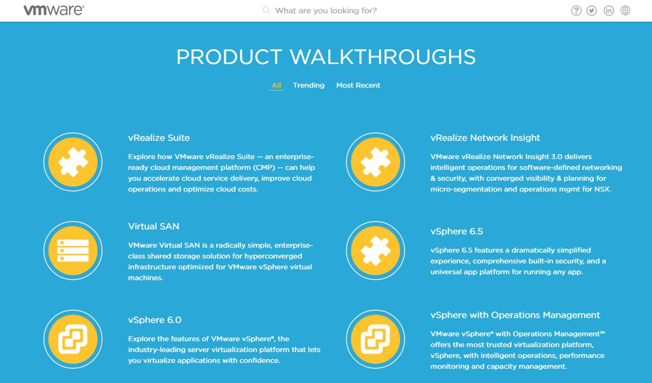 VMware Product Walkthroughs