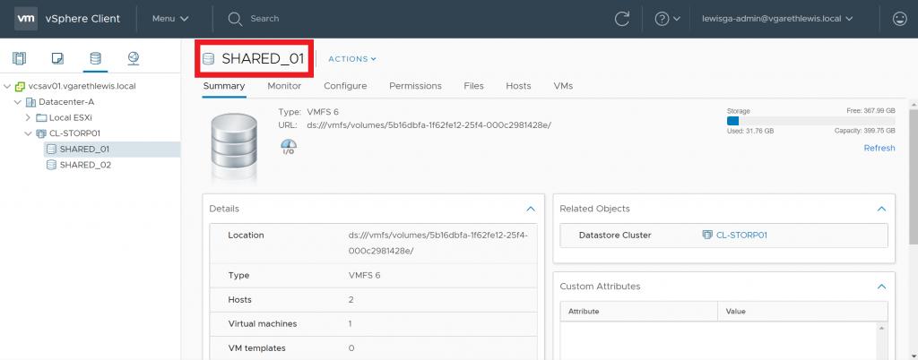 Reclaim VMFS Deleted Blocks via UNMAP Identify Volume Name
