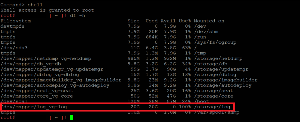 VCSA Storage Logs Full Disk Consumed