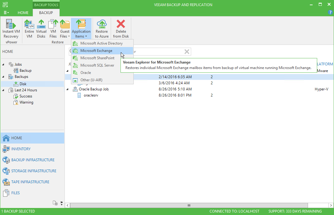 Veeam Exchange Explorer