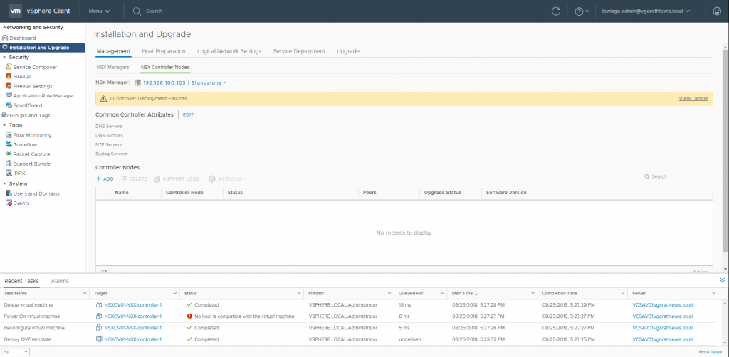 Deploying Lean NSX Controllers in a Lab Environment Controller Deployment Fail