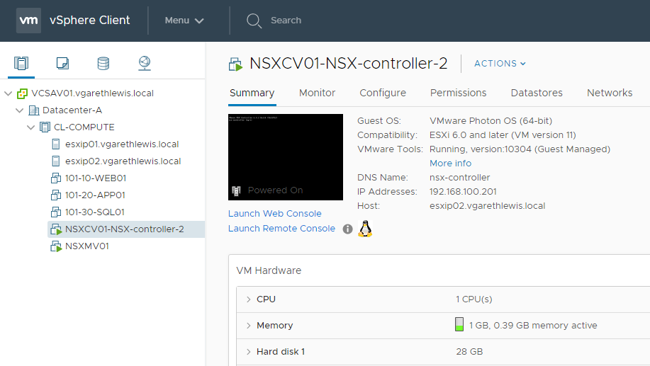 Deploying Lean NSX Controllers in a Lab Environment NSX Controller VM