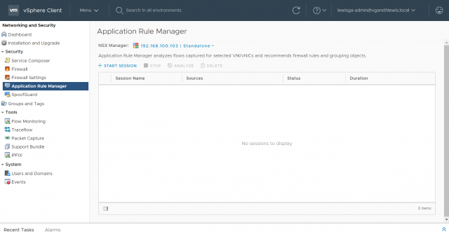 NSX Data Centre - Application Rule Manager Flow Monitoring