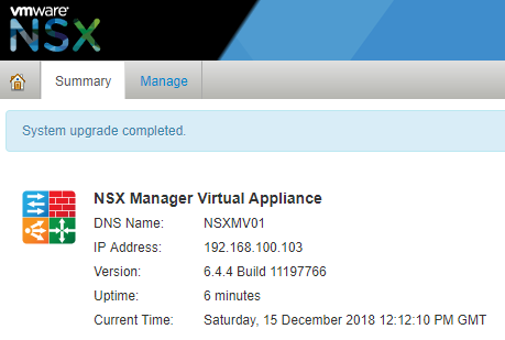 VMware NSX Data Center for vSphere 6.4.4 - Manager Upgrade