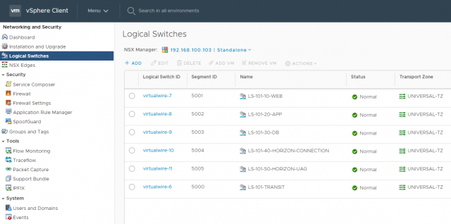 VMware NSX Data Center for vSphere 6.4.4 - Logical Switches