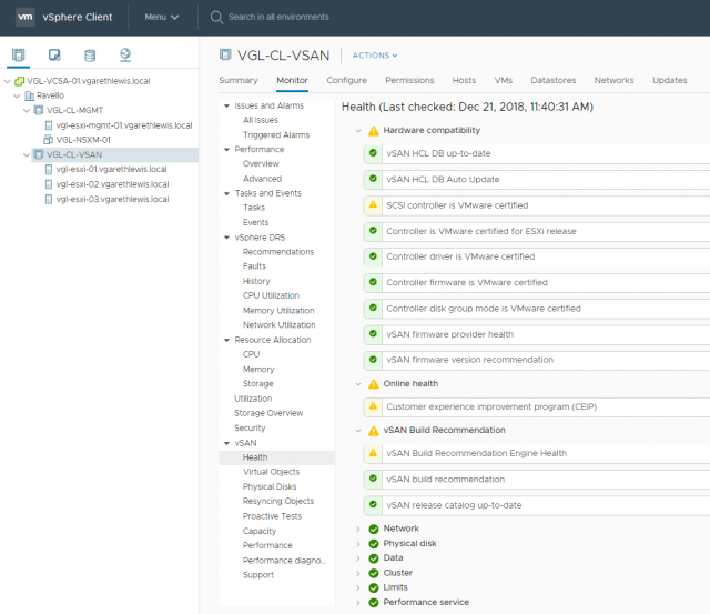 VMware vSAN: Part 1 - Installation and Configuration - Post-Installation Checks - vSAN Health