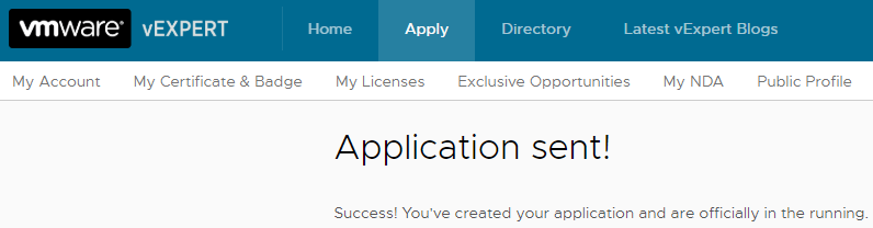 VMware vExpert - Application Sent
