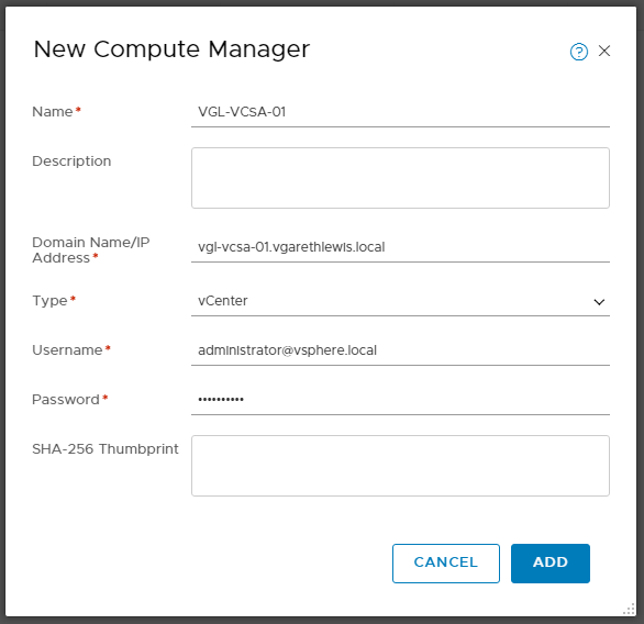 VMware NSX-T Data Center - Add a Compute Manager 202