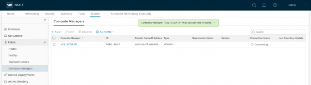 VMware NSX-T Data Center - Add a Compute Manager 204