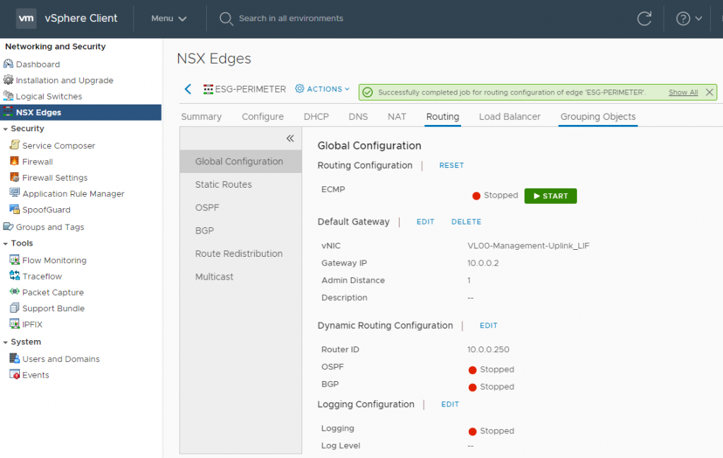 VMware NSX-V Dynamic Routing - OSPF - Edge Services Gateway (ESG) Configuration