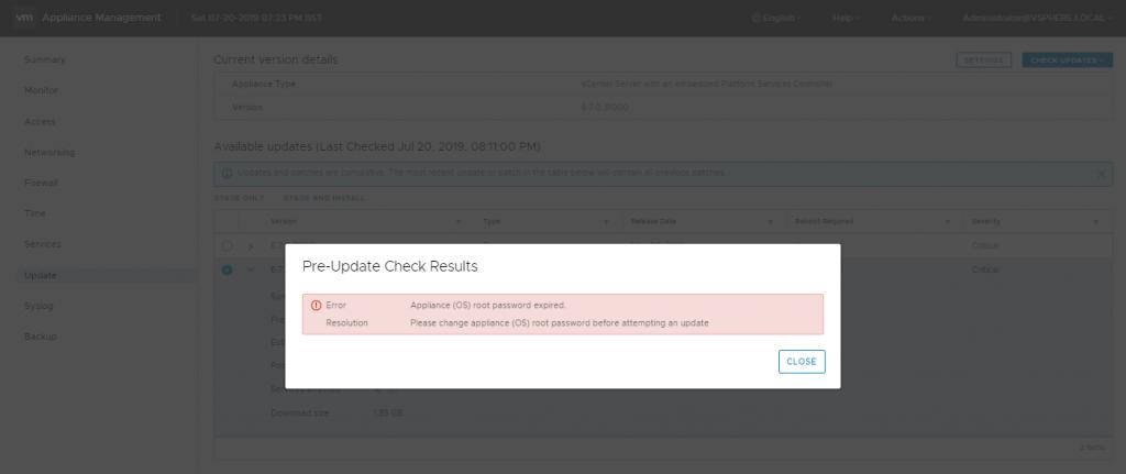 VCSA Password Reset via Bash