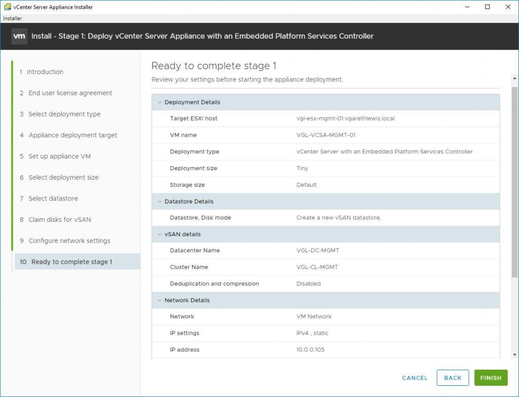 Stage 1 - Deploy vCenter Server Appliance