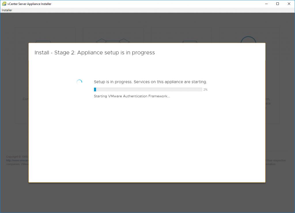Stage 2 - Set Up vCenter Server Appliance