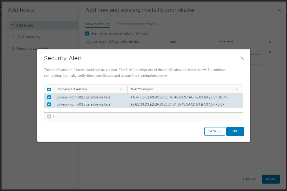Stage 3 - Cluster Quickstart - Add Hosts and Configure vSAN Cluster
