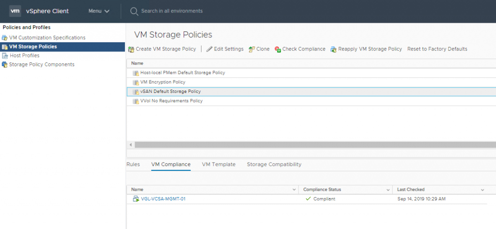 Stage 4 - Apply vSAN Default Storage Policy to vCenter Server Appliance
