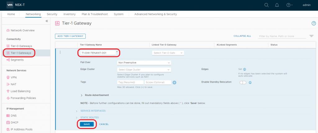 VMware NSX-T Tier-1 Gateway - Create Gateway
