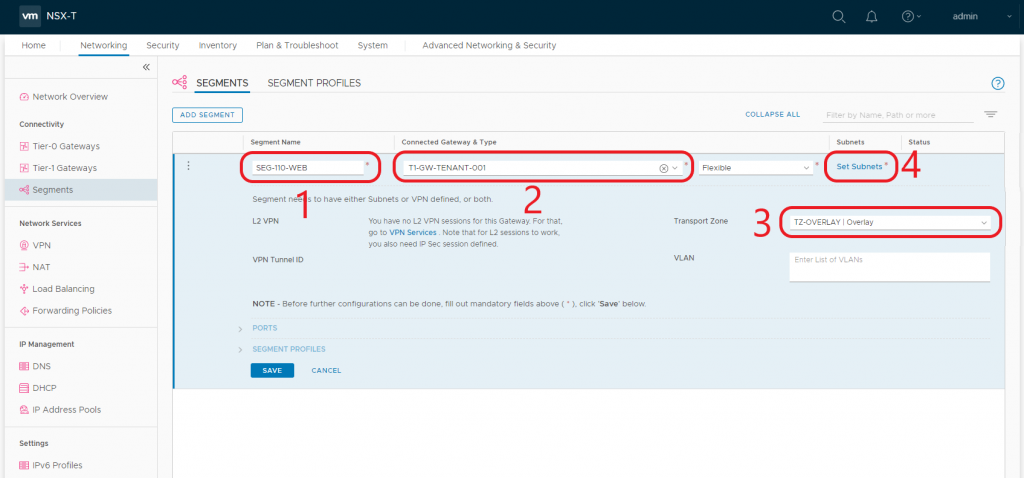 VMware NSX-T Tier-1 Gateway - Create Segments