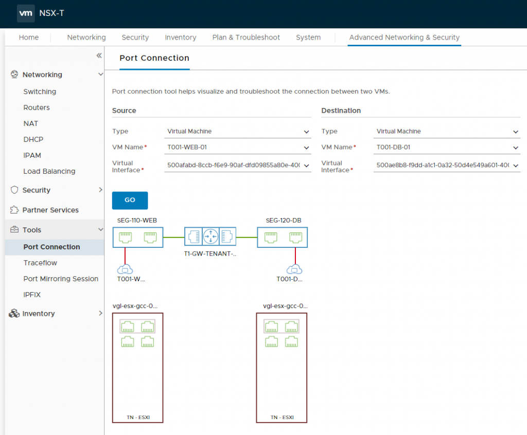 VMware NSX-T Tier-1 Gateway - Troubleshooting via Port-Connection